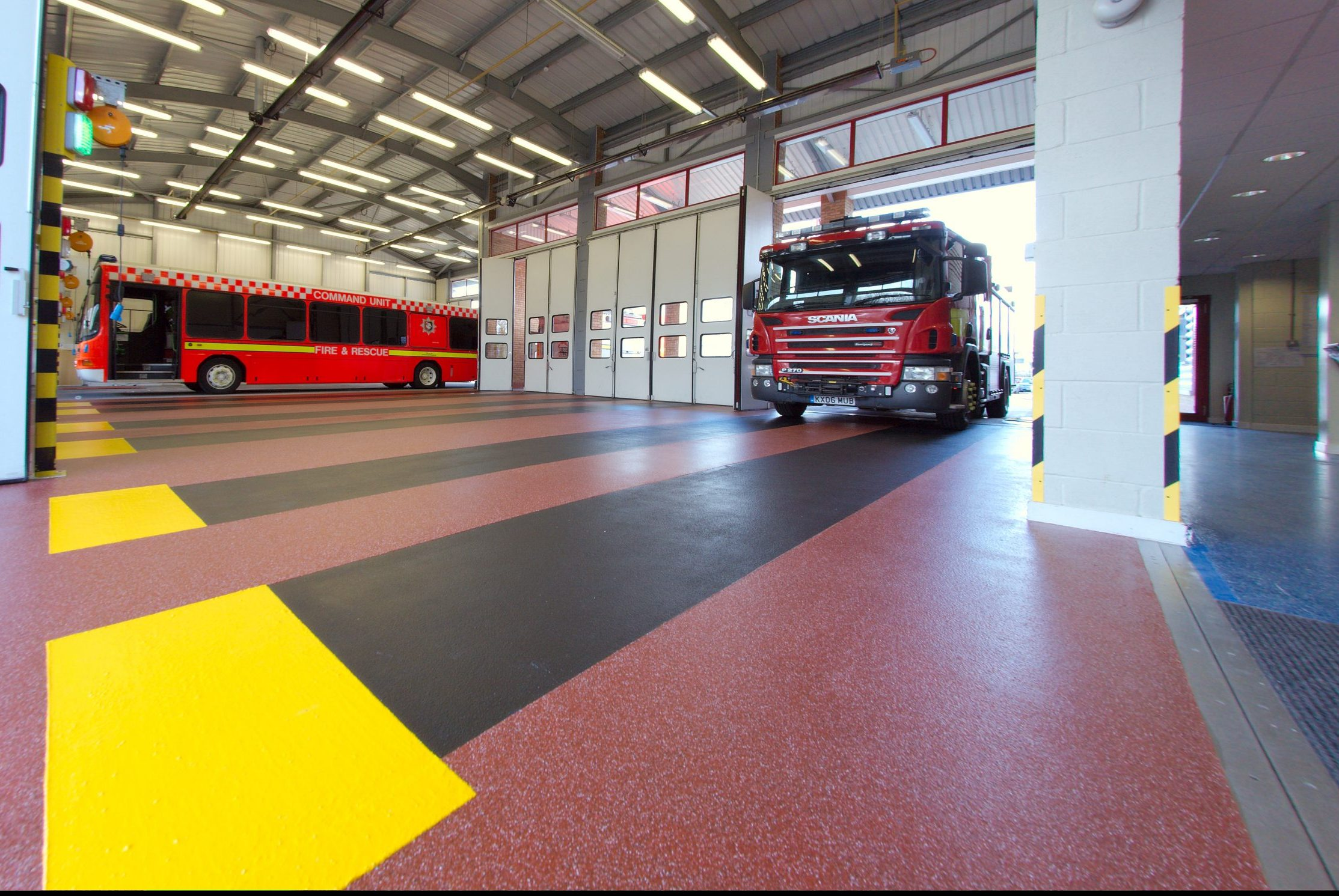 Resin flooring and demarcation at Aylesbury Fire Station